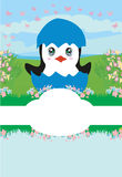 Cute Penguin Baby Shower card. Vector Illustration Stock Photography