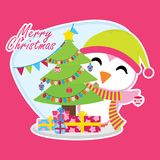 Cute penguin besides Xmas tree and gift boxes on pink background. Cartoon illustration for Christmas card design, wallpaper and greeting card Stock Images