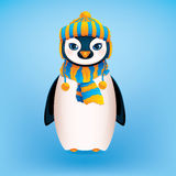Cute Penguin. On Blue Background Royalty Free Stock Photo