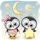 Cute Penguin boy gives a Penguin girl a star. Cute cartoon Penguin boy gives a Penguin girl a star Royalty Free Stock Photography