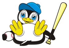 Cute penguin boy hold a bat and ball. Smiling penguin boy lying on his back and hold stock illustration