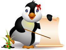 Cute penguin cartoon with blank sign Royalty Free Stock Photos