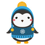 Cute penguin. Cartoon kawaii animal character. Vector illustration for kids and babies fashion Royalty Free Stock Images
