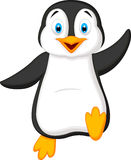 Cute penguin cartoon waving Royalty Free Stock Photography