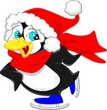 Cute penguin cartoon wearing red hat Stock Photo