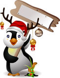 Cute penguin christmas cartoon Stock Photos