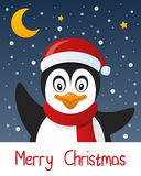 Cute Penguin Christmas Greeting Card. Merry Christmas card with a cartoon penguin smiling and greeting, with snow and stars in the blue sky. Eps file available Royalty Free Stock Photography