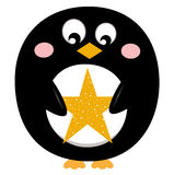 Cute penguin with christmas star Royalty Free Stock Photos