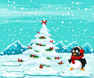 Cute penguin with christmas tree stock illustration