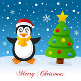 Cute Penguin & Christmas Tree on the Snow Stock Photography