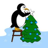 Cute penguin decorates New Year tree royalty free illustration
