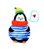 Cute penguin dreams about love. Cartoon babies and little kids. Watercolor illustration  on white background Royalty Free Stock Photography