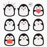 Cute Penguin Emojis Vector Set Royalty Free Stock Photos