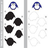 Cute Penguin. Find true correct shadow. Cute Penguin with different shadows to find the correct one. Compare and connect object with it true shadow. Easy Royalty Free Stock Photo