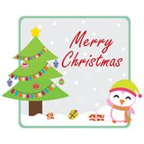 Cute penguin finds Xmas gift boxes under Xmas tree. Cartoon illustration for Christmas card design, wallpaper and greeting card Royalty Free Stock Image