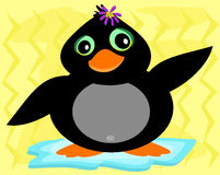 Cute Penguin with a Flower Barette Stock Photography