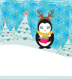 Cute penguin with gift box Stock Photography