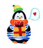 Cute penguin with gift dreams about love. Cartoon babies and little kids. Watercolor illustration  on white background Stock Photography
