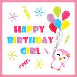 Cute penguin girl with birthday balloons vector cartoon, Birthday postcard, wallpaper, and greeting card Royalty Free Stock Photos