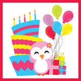 Cute penguin girl with birthday cake, balloons, and gifts  cartoon, Birthday postcard, wallpaper, and greeting card Stock Photo