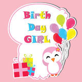 Cute penguin girl with birthday gifts and balloons frame vector cartoon, Birthday postcard, wallpaper, and greeting card. T-shirt design for kids Stock Image