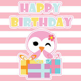 Cute penguin girl is happy with birthday gifts  cartoon, Birthday postcard, wallpaper, and greeting card Stock Photo