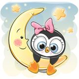 Cute Penguin girl on the moon Royalty Free Stock Photos
