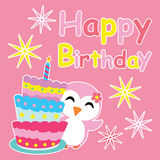 Cute penguin girl smiles beside birthday cake  cartoon, Birthday postcard, wallpaper, and greeting card Stock Photo