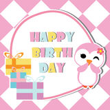 Cute penguin girl is winking on birthday gifts frame  cartoon, Birthday postcard, wallpaper, and greeting card Royalty Free Stock Image