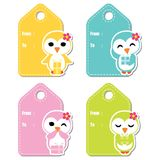 Cute penguin girls on colorful background  cartoon illustration for birthday gift tag design Royalty Free Stock Photo