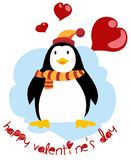 Cute penguin - Happy Valentines day. Postcard for Valentine`s Day royalty free illustration