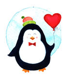 Cute penguin holding a big heart balloons for Valentines day Cartoon stock illustration