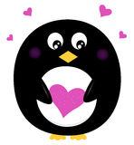 Cute Penguin holding pink heart isolated on white Stock Images