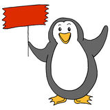 Cute Penguin Holding Sign Stock Photography