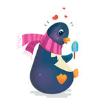 Cute penguin with ice cream in a scarf. Valentine's Day Penguin. Cute penguin with ice cream in a scarf. Romantic vector illustration. Can be used for books Stock Images