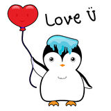 Cute penguin with ice on head and red balloon in a heart shape vector illustration cartoon Stock Photography