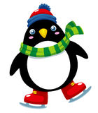Cute penguin ice skates Royalty Free Stock Image