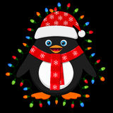 Cute penguin with light bulbs on black background Stock Photos
