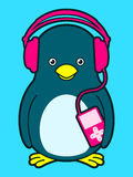Cute penguin with music player and headphones. Cute penguin with pink music player and headphones vector illustration