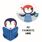Cute penguin reading a book. Hand drawn vector illustration of a cute funny penguin reading a book, with quote My favourite book. Isolated objects on white stock illustration