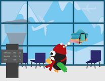 Cute Penguin with Red beanie and scarf in airport traveling to warm place. Cute Penguin with Red beanie,scarf Green suitcase in airport with mountains background vector illustration