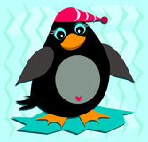 Cute Penguin with a Red Cap Stock Images