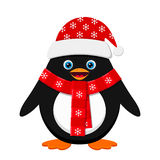 Cute penguin in red hat Stock Photo