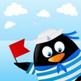Cute penguin sailor. On sea background vector illustration