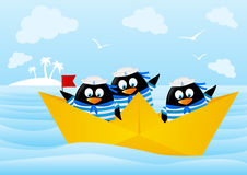 Cute penguin sailors Stock Image