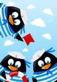 Cute penguin sailors Stock Photography