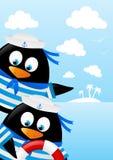 Cute penguin sailors Royalty Free Stock Image