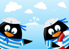 Cute penguin sailors Royalty Free Stock Images