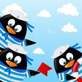 Cute penguin sailors Royalty Free Stock Photos