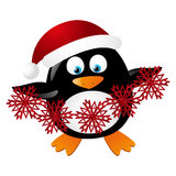 Cute penguin Santa Stock Images